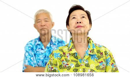 Asian Senior Couple Fighting Get Upset To Each Other