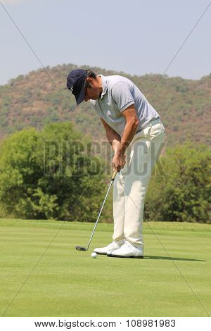 Mens Pro Golfer Jean Van De Velde Putting For A Birdie On November 2015 In South Africa