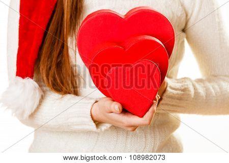 Girl Holding Cute Hearts.