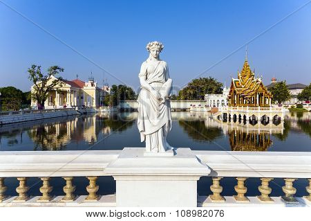 Statue At Bang Pa-in Palace, The Summer Palace Of The King