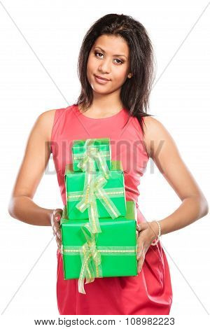 Pretty Mixed Race Woman With Boxes Gifts. Birthday