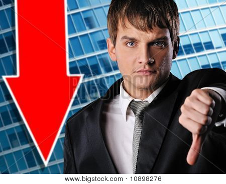 Serious businessman over abstract background