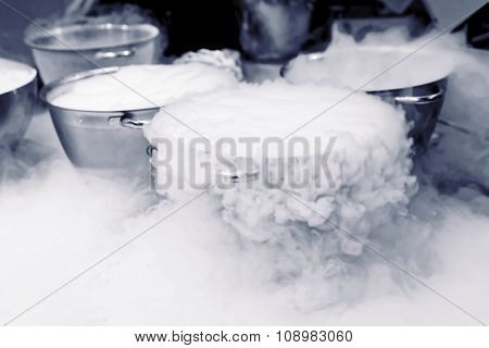 Making ice cream with liquid nitrogen, professional cooking