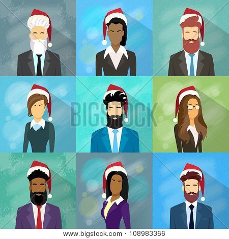 Profile Avatar Set Icon Businesspeople New Year Christmas