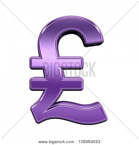 Pound sign from shiny purple alphabet set, isolated on white. Computer generated 3D photo rendering.