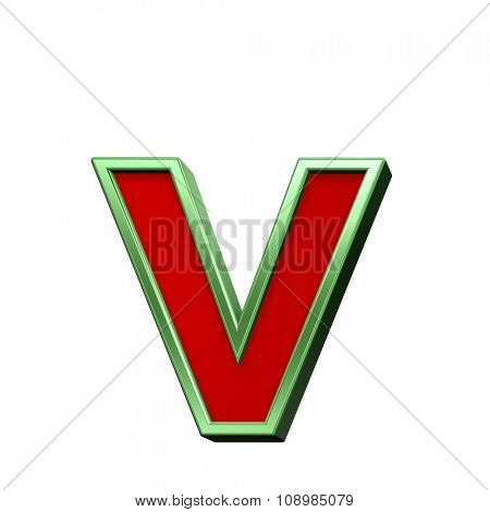 One lower case letter from red glass with green frame alphabet set, isolated on white. Computer generated 3D photo rendering.