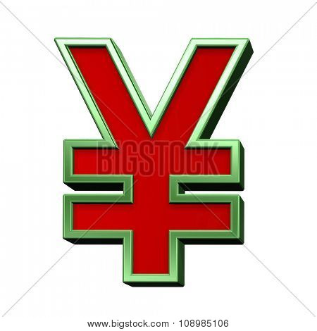 Yen sign from red glass with green frame alphabet set, isolated on white. Computer generated 3D photo rendering.