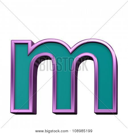 One lower case letter from blue glass with purple frame alphabet set, isolated on white. Computer generated 3D photo rendering.