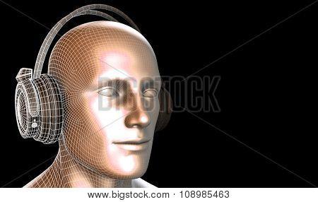 Man Listening to Music Meditating in Earphones 3d