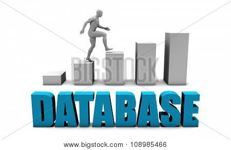 Database 3D Concept  in Blue with Bar Chart Graph