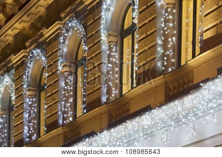Building Facade With Light String Decoration