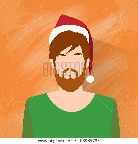 Profile Icon Male New Year Christmas Holiday Red Santa Hat