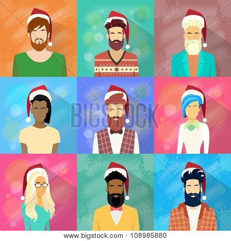 Profile Icon People Collection New Year Christmas Holiday Set