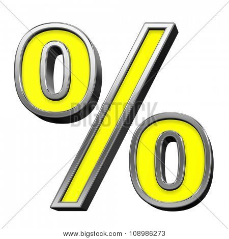 Percent sign from yellow with chrome frame alphabet set, isolated on white. Computer generated 3D photo rendering.