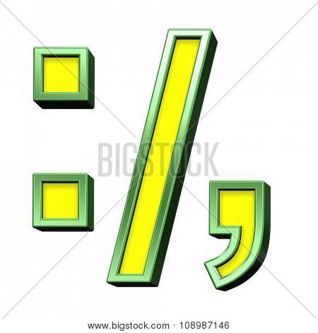 Colon, semicolon, period, comma sign from yellow with green frame alphabet set, isolated on white. Computer generated 3D photo rendering.