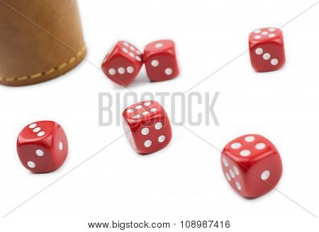 Dice Cup And Dices In A White Box