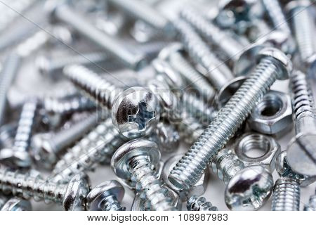 A Big Collection Of Various Iron Screws And Bolt Nuts