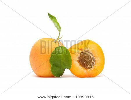 Apricot With Green Leaf And Stone Isolated On White Background