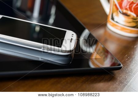 Business Work With Smartphone On A Tablet, Coffee & Coffeemaker