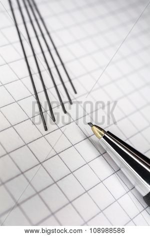 Macro Of A Mechanical Pencil With 5 Leads On Squared Paper 2