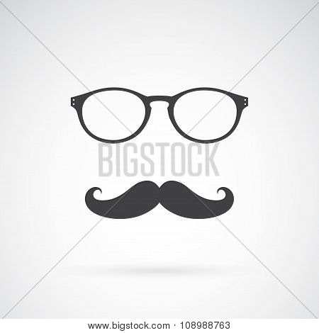 Vector Image Of An Glasses And Mustache On White Background