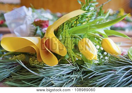 In Classroom Yellow Flowers Lying On Table