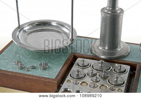Old Style Pharmacy Scale Pan Close-up