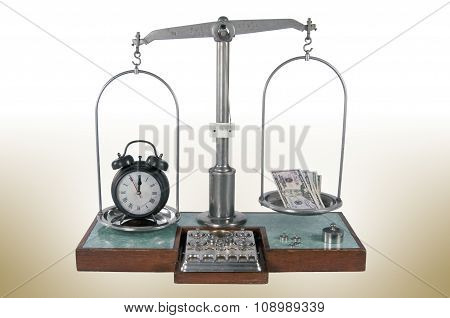 Old Style Pharmacy Scale With Clock Heavier Than Money