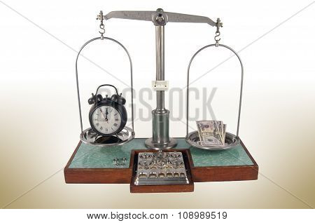Old Style Pharmacy Scale With Money Heavier Than Clock