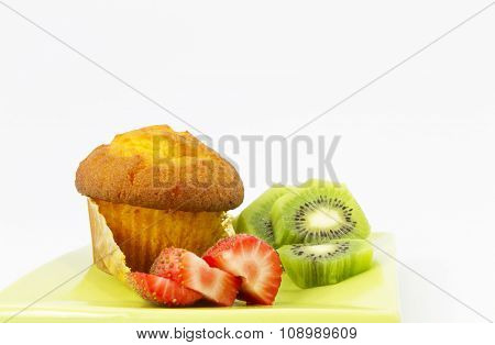 Kiwi And Strawberry with Corn Muffin
