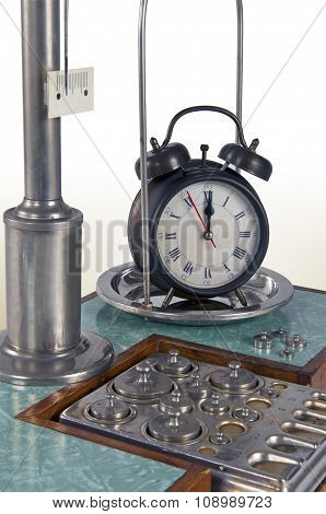 Old Style Pharmacy Scale Close-up With Clock
