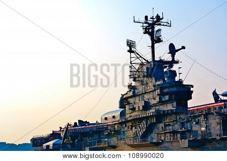 NEW YORK, USA - AUG 2, 2008: detail of aircraft carrier Intrepid in sunset in New York