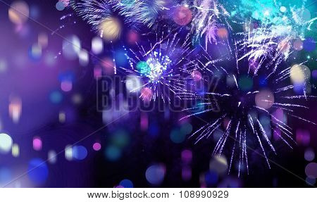 Bright Sparkling Multicolor Fireworks And Confetti