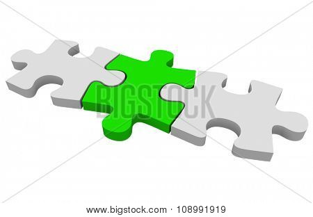 Green puzzle piece connecting a picture together or solving a problem