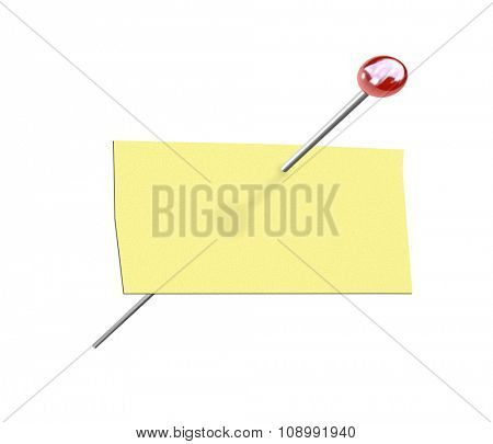 An isolated rectangular piece of yellow paper and a pushpin for a pinned message on a bulletin board with copy space for your text