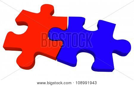Two puzzle pieces in blue and red coming together to solve a problem