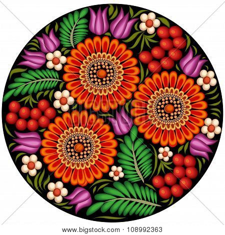 illustration background painted with flowers and berries in a circle