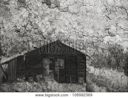 wooden cabin, retro effect. Black and white