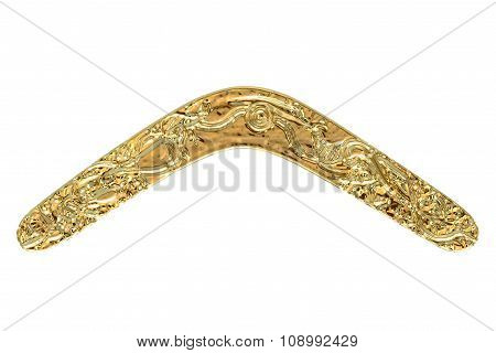 Golden Boomerang Isolated On White