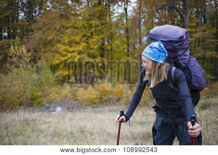 Girl With A Large Backpack.