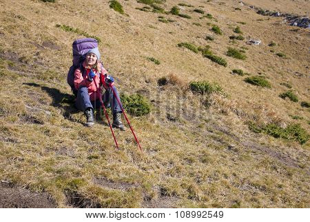 Active Girl With A Backpack.