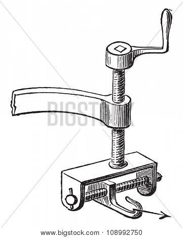 Controller with two screws, vintage engraved illustration. Industrial encyclopedia E.-O. Lami - 1875.