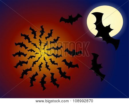 A flock of bats flying out of the abyss