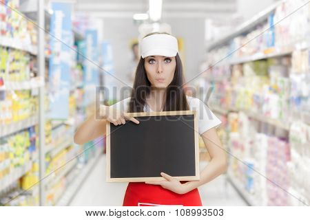 Surprised Supermarket Employee Holding a Blank Blackboard