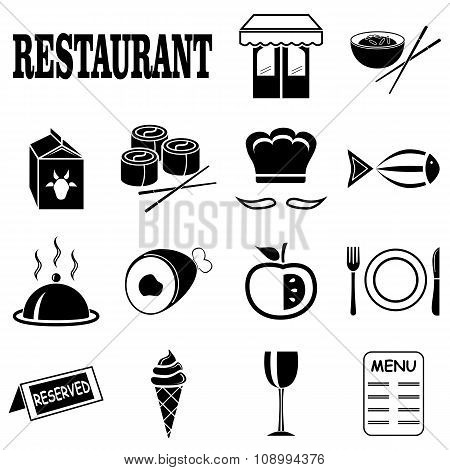 Icons on the theme of the restaurant
