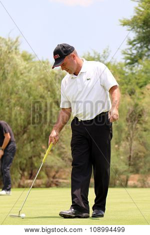 Mens Pro Golfer Thomas Levet Tapping The Ball In On November 2015 In South Africa