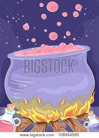 Illustration of a Mysterious Potion Brewing in a Giant Cauldron