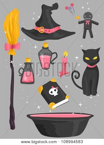 Grouped Illustration of Elements Typically Associated with Witches