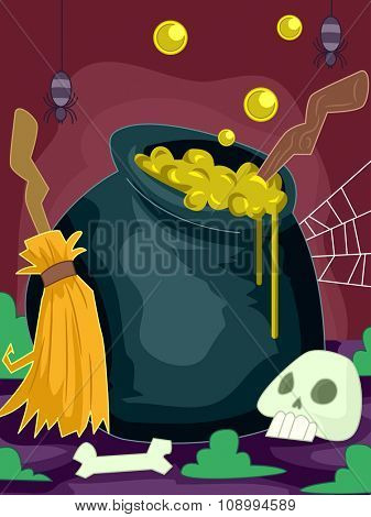 Halloween Illustration of a Cauldron Overflowing with a Mysterious Potion