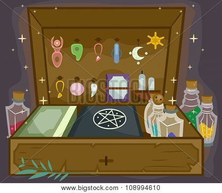 Illustration of a Witchcraft Kit Complete with All Sorts of Witchcraft Tools